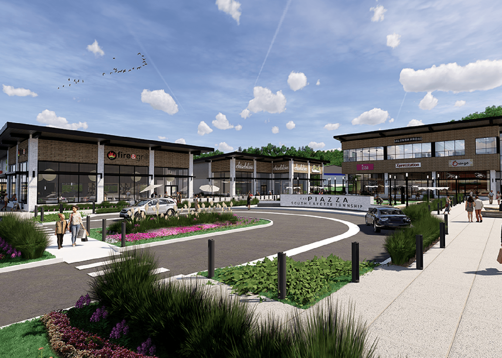 Digital rendering of the Piazza shopping plaza with the center's sign that reads: The Piazza, South Fayette Township