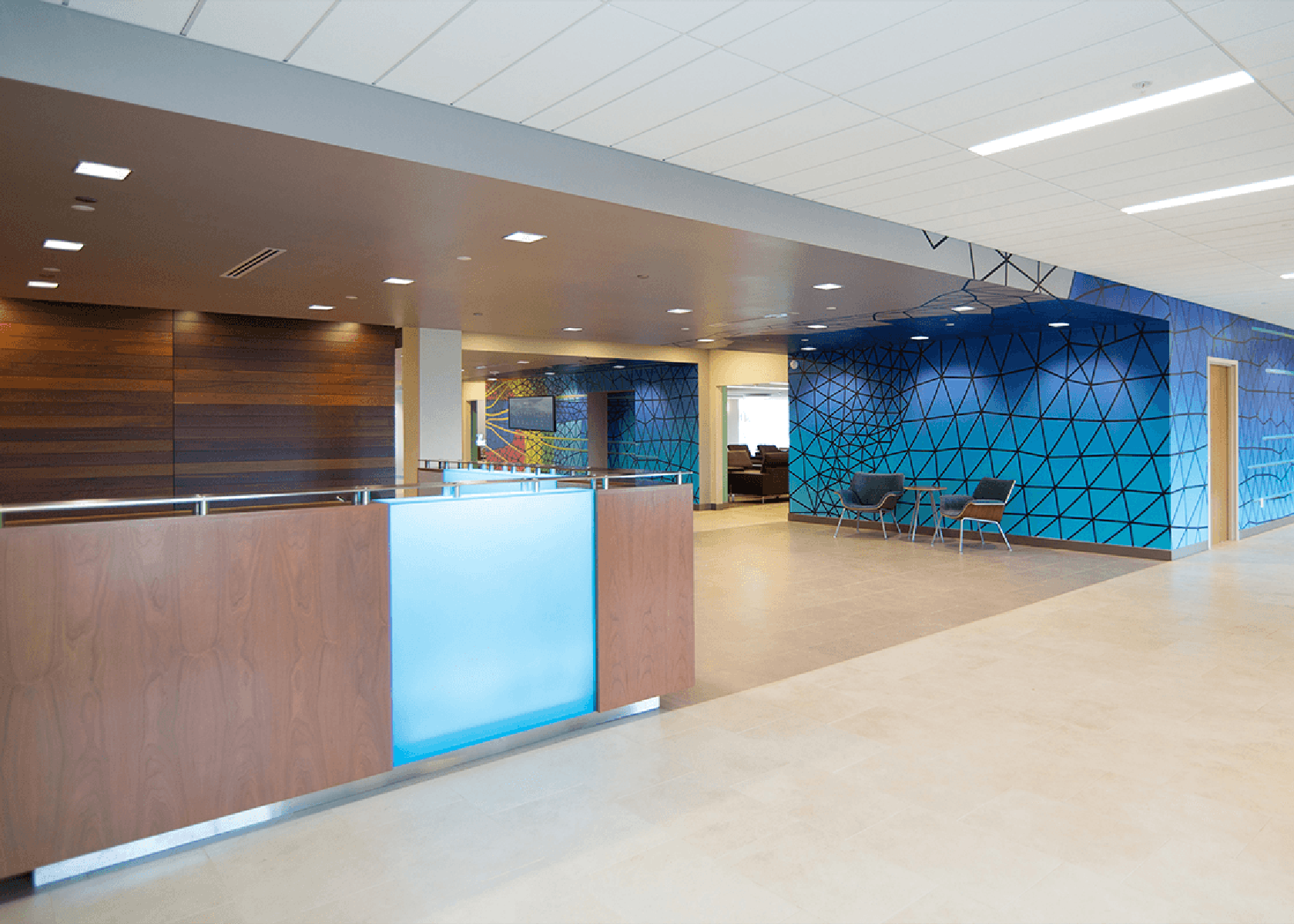 reception and lobby with geometric wall patterns