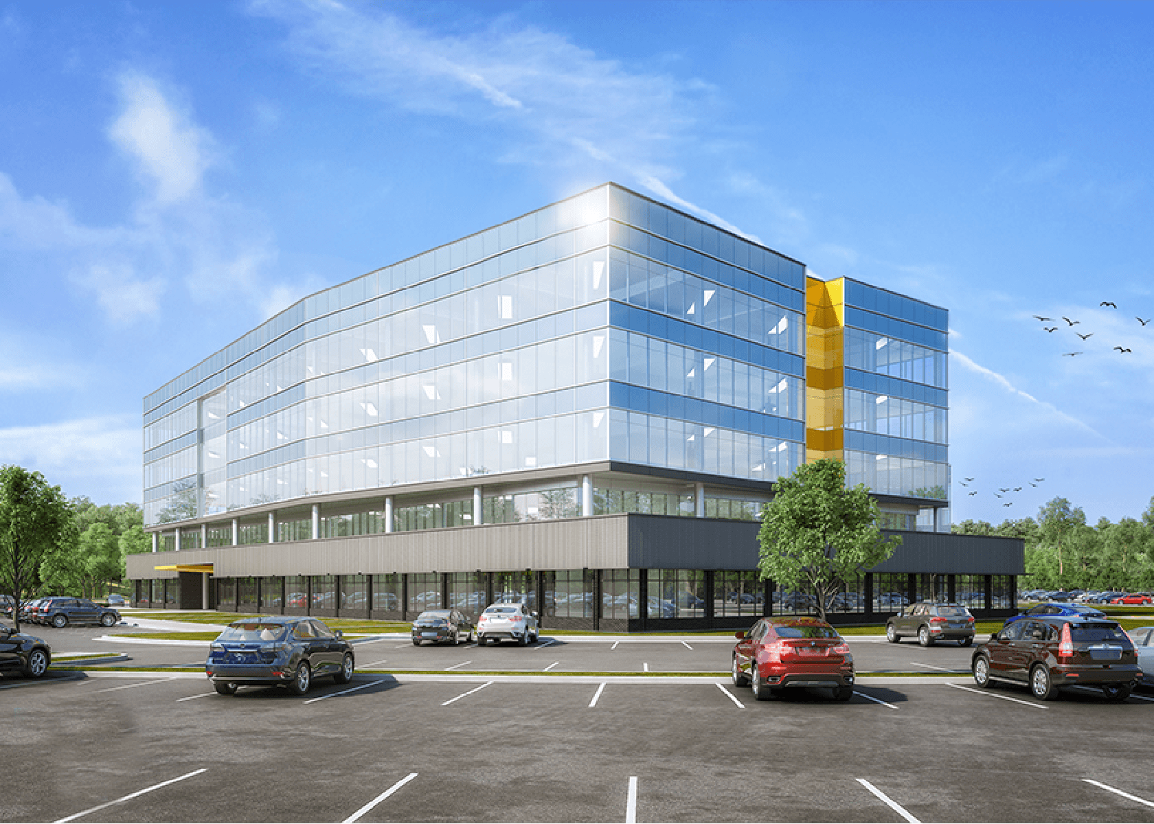 digital rendering of the exterior of an office building at Diamond Ridge