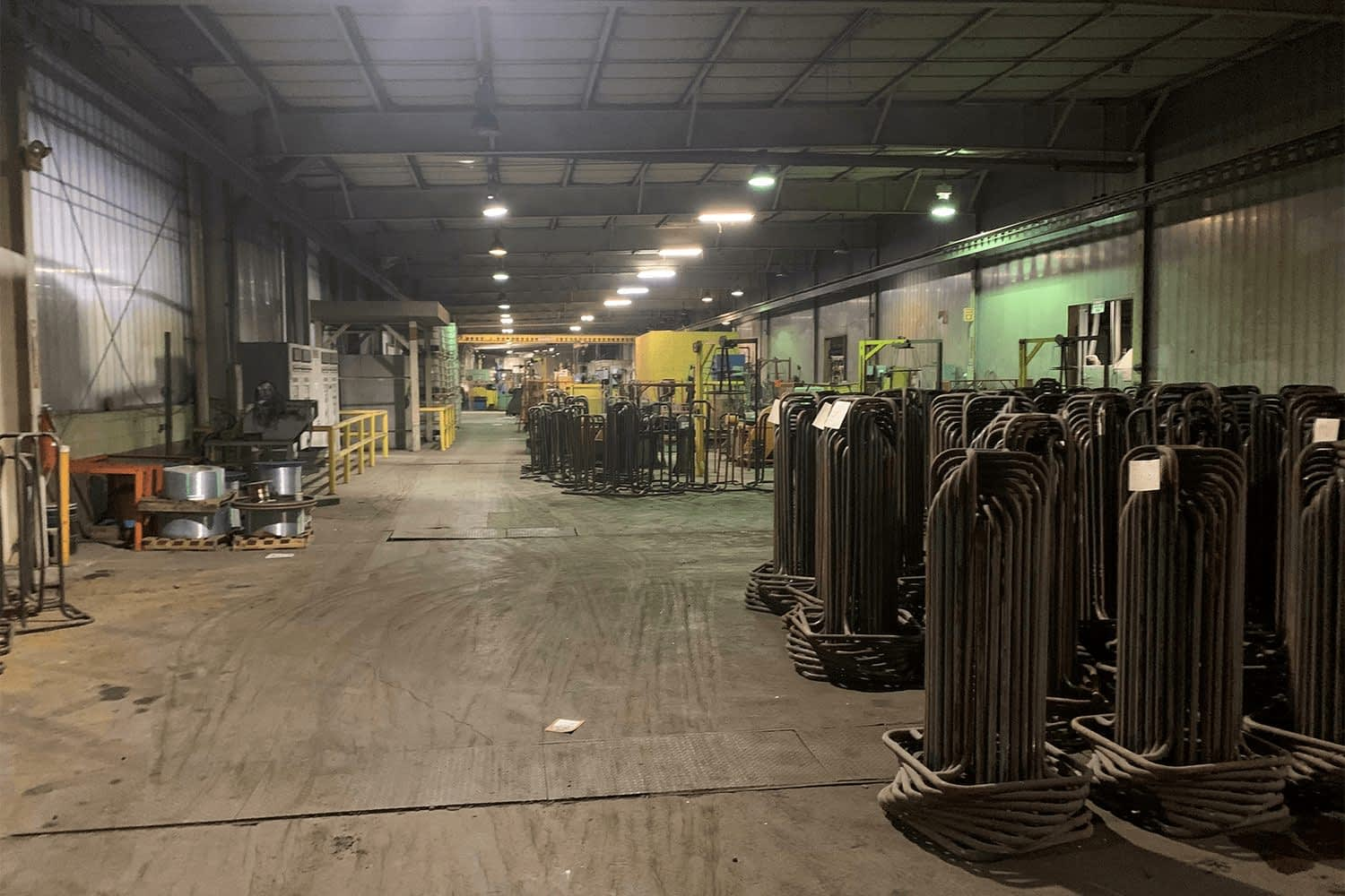 Storage area with industrial equipment