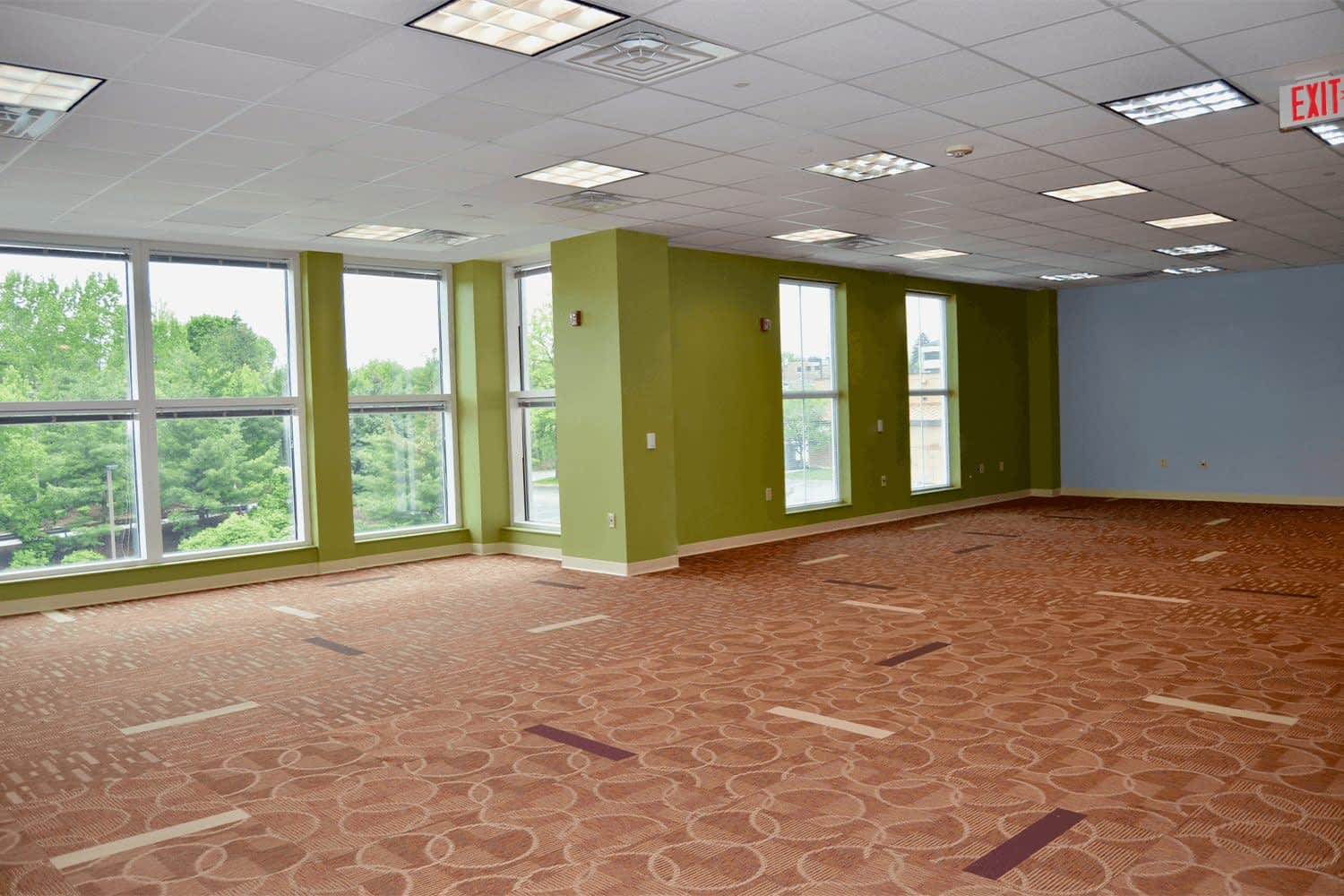 Large office space with bright green and blue walls and large windows
