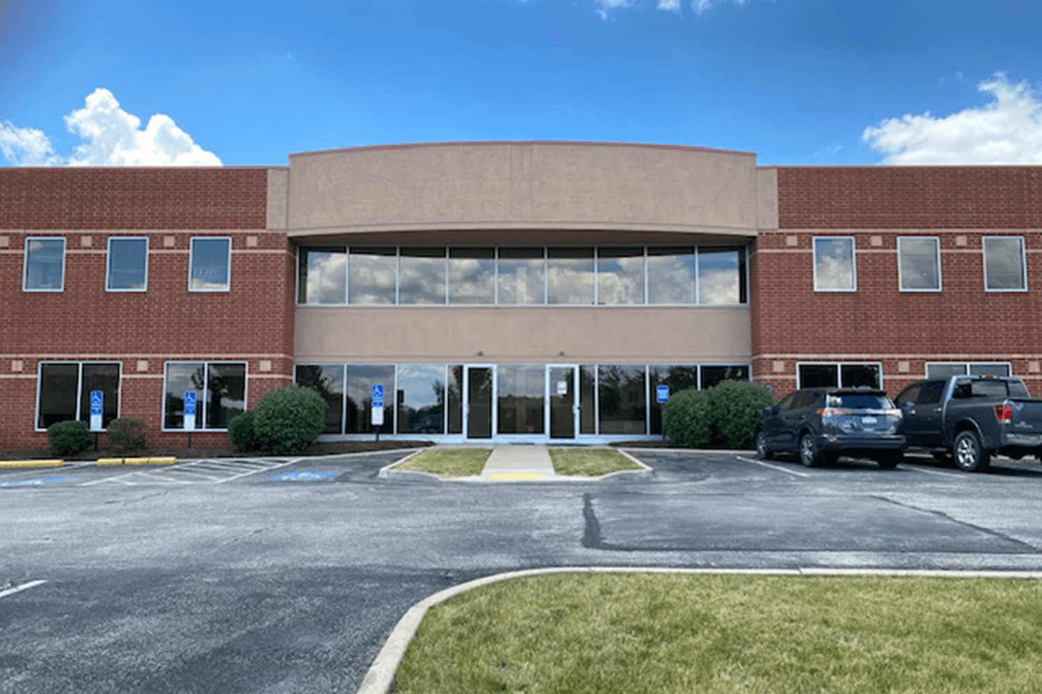 exterior or 401 Technology Drive, a two-story office building