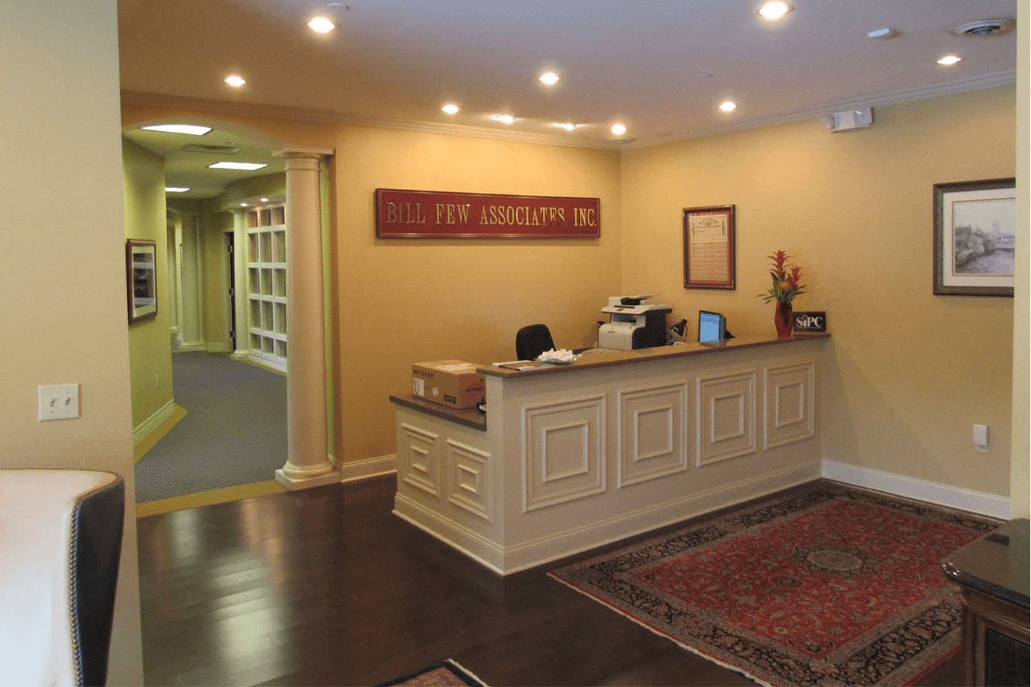 lobby/reception area with a decorative front desk