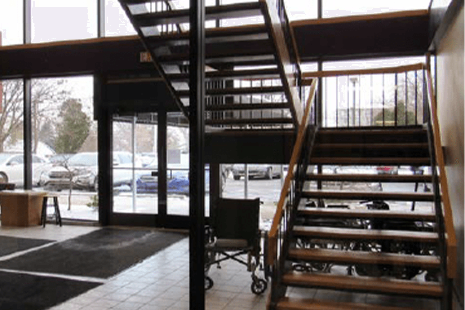 view of a stairway in a lobby area