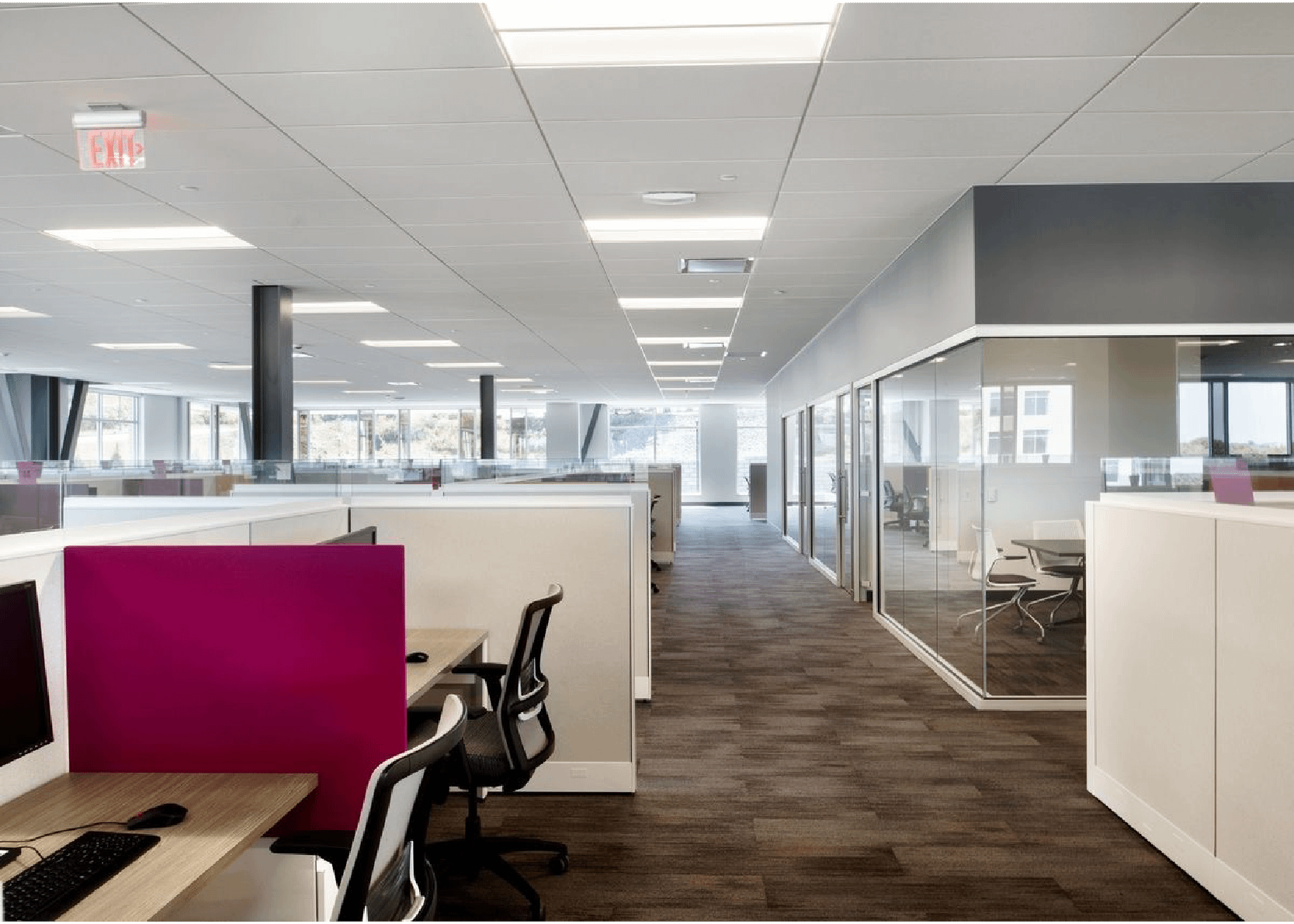 Large open office space with cubicles