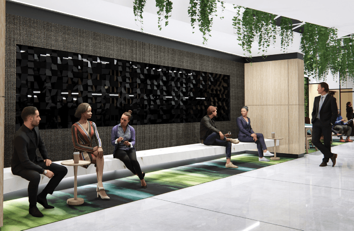 digital rendering of people sitting on a bench along a wall in a collaborative space with plants hanging from the ceiling, and a large piece of art hanging on the wall behind them