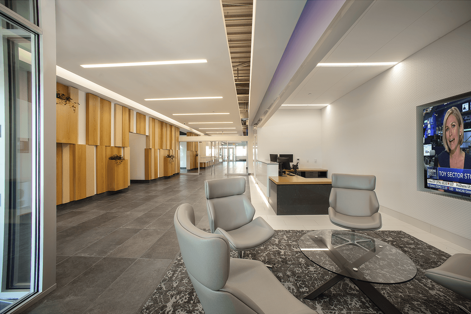 chairs around a coffee table in a lobby and reception area