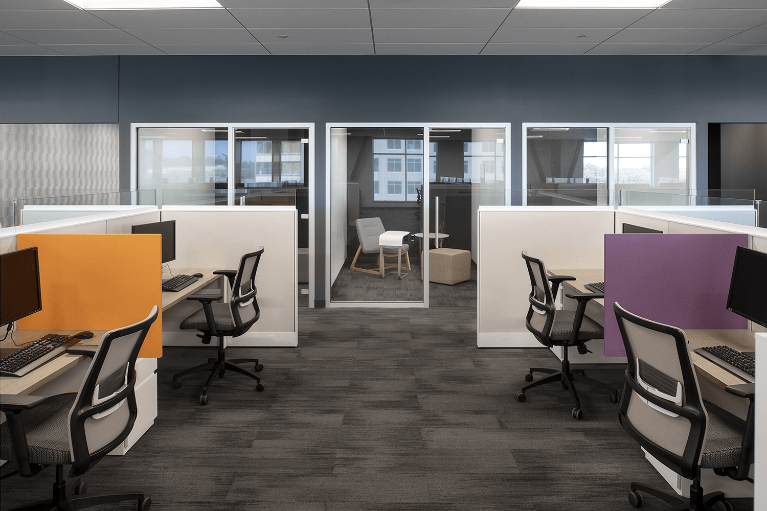 cubicles with orange and purple accent dividers