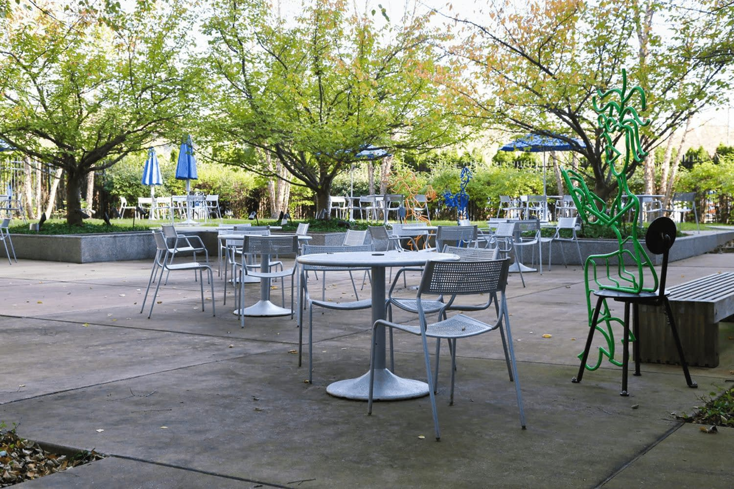Outdoor patio with tables and chairs shaded by trees