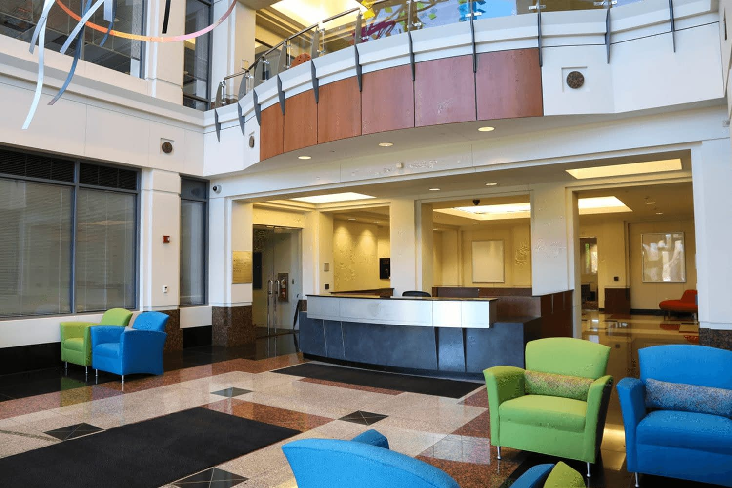 Lobby area with bright and colorful furniture