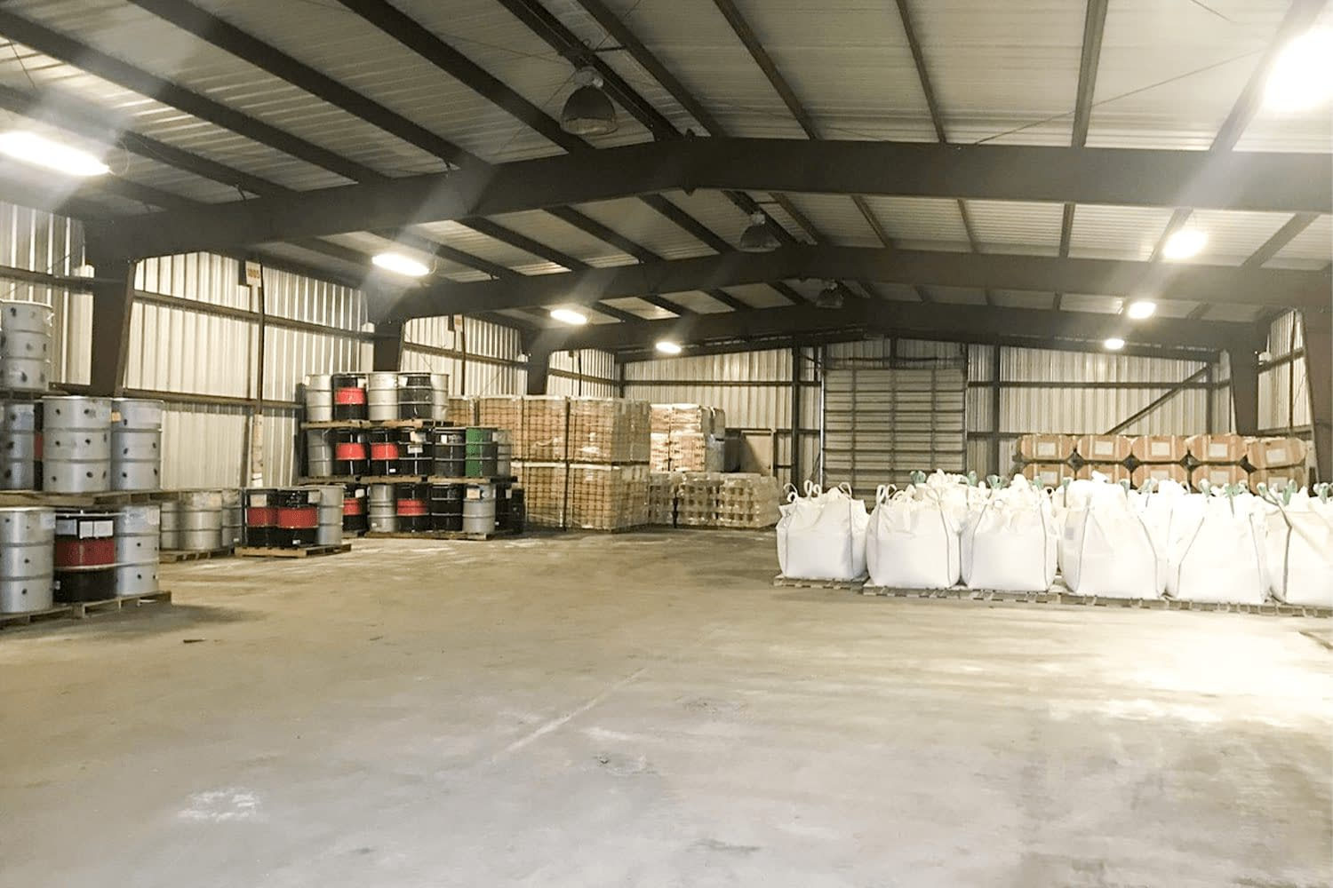 warehouse interior with large bay door