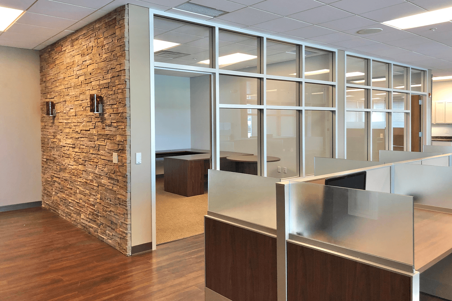 private office with large glass wall