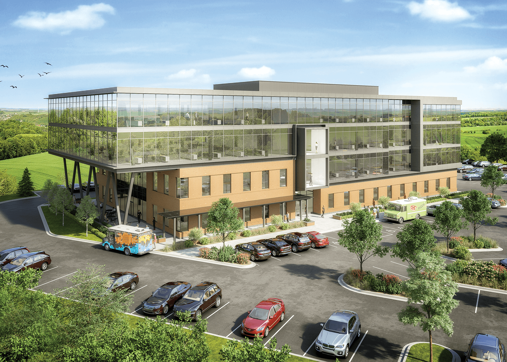 Digital rendering of the exterior of Beacon 2- a 4-story office building with large windows