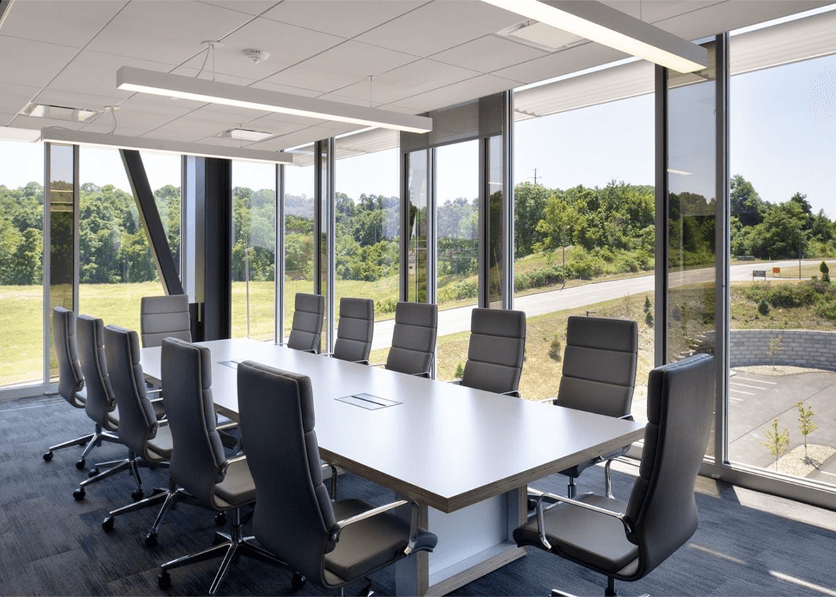 Conference room with floor-to-ceiling windows