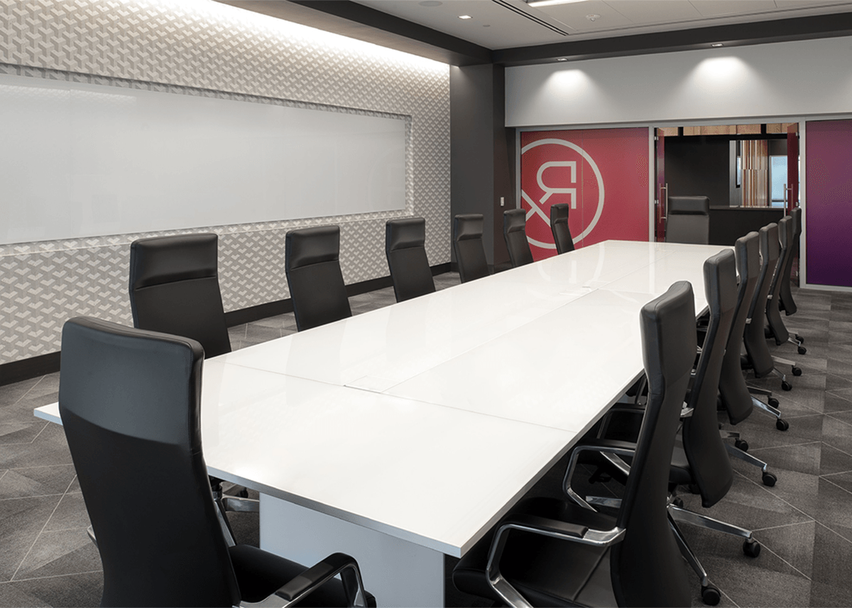 Connective RX conference room with futuristic aesthetic