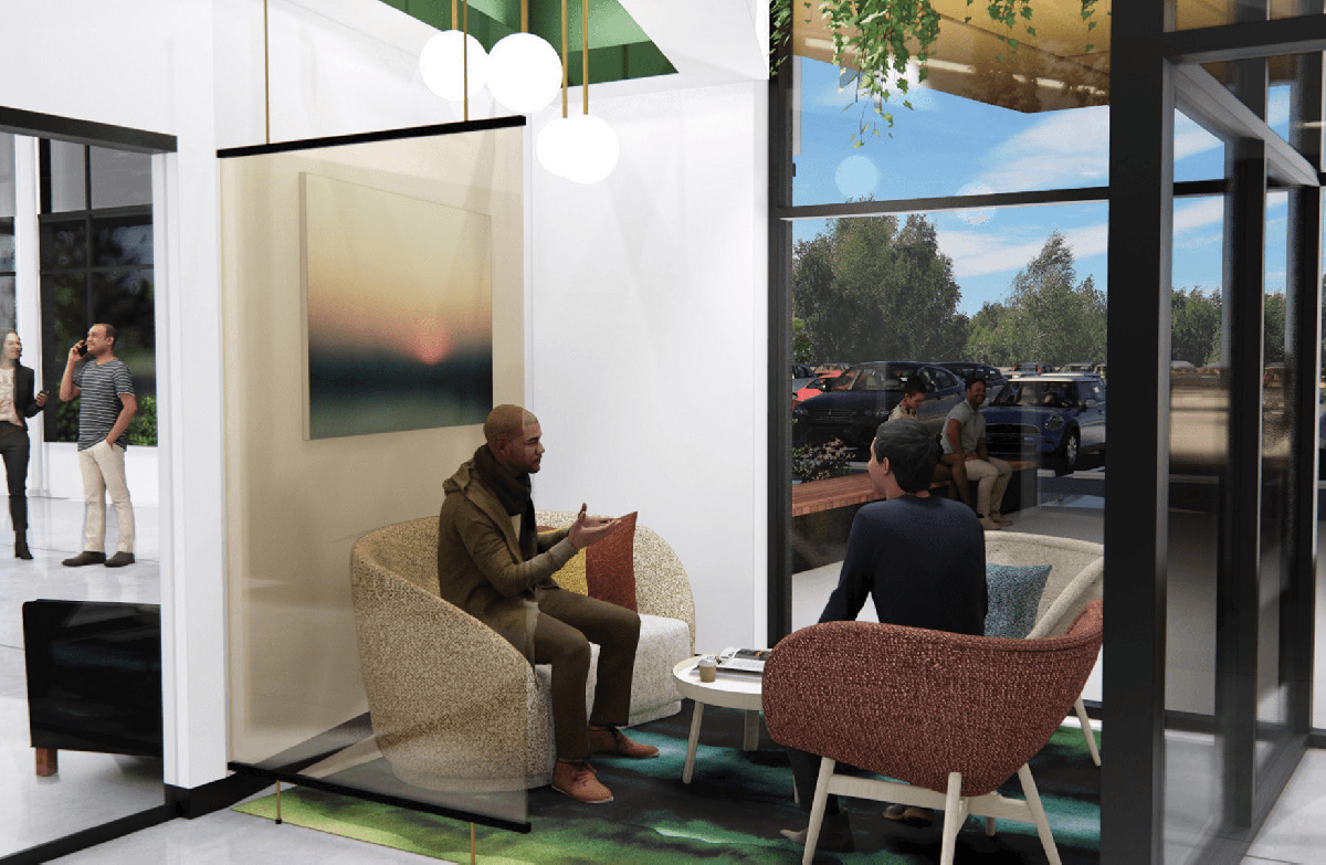 digital rendering of people sitting in chairs in a small collaborative workspace
